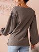 Lantern sleeve casual simple comfortable loose top