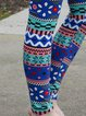 Multicolor Boho Cotton-Blend Tribal Sheath Pants