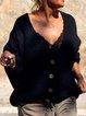 Black Cotton-Blend Long Sleeve Shift Plain Sweater