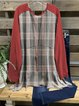 Red Round Neck Checkered/plaid Casual Shirts & Tops