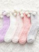 Autumn And Winter Warm Coral Downy Ball Home Socks For Women