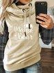Khaki Hoodie Patchwork Casual Cotton-Blend Sweatshirt