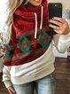 Hoodie Casual Cotton-Blend Color-Block Sweatshirt