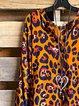 Vintage Leopard  Printed Loose V-Neck Shirts & Tops