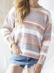 Casual Stripes Shift Long Sleeve Sweater