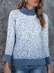 Turtleneck Shift Long Sleeve Cotton-Blend Sweater