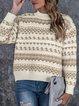 Christmas Snowman Casual Cotton-Blend Shift Sweater