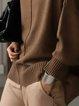 Solid Long Sleeve Turtleneck Wool Blend Sweater