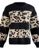 Loose-Fitting Leopard Print Sweater With A Round Neck