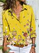 Gray Shawl Collar Long Sleeve Printed Shirts & Tops