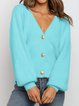 V-Neck Button Knit Sweater Cardigan