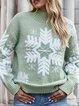 Cotton-Blend Christmas Snowman Long Sleeve Vintage Shirts & Tops
