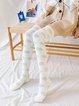 Coral Velvet Polka Dot White Thigh-High Floor Socks
