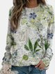 Crew Neck Long Sleeve Plants Cotton-Blend Shirts & Tops