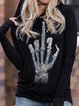 Pure color hooded print Halloween casual warm sweater