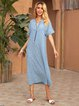 Blue A-Line V Neck Solid Casual Dresses