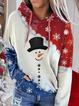 Women's Snowman Print Contrast Color Long Sleeve Tie-Dye Hoodie