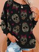 Simple and loose Halloween gift sweater with skull print