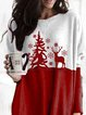 Merry Christmas Red Fawn Loose Woolen Long Top
