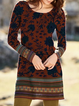 Plus size Floral Long Sleeve Dresses