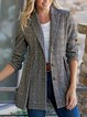 Lapel Vintage Checkered/plaid Outerwear