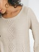 Plain Cotton-Blend Long Sleeve Shift Sweater