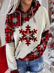 Ladies' plaid snowflake print casual hoodie