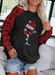 Ladies Christmas Wine Glass Print Sweatshirt