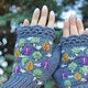 Autumn design arm warmers womens, botanical fall accessories, embroidered fingerless gloves, mori girl forest style gift for her