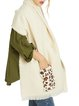 Leopard print pocket stitching long faux cashmere woolen scarf