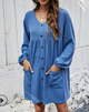 Long Sleeve V-neck Loose Pocket Baby Dress