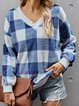 Cotton-Blend Casual Checkered/plaid Shirts & Tops