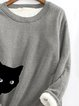 Cotton-Blend Long Sleeve Animal Casual Sweatshirt