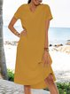 Yellow V Neck Cotton Short Sleeve A-Line Dresses