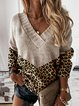 Leopard V-Neck Casual Sweaters
