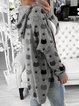 Comfortable sweater for women with hooded printed cardigan