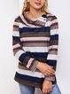 Cotton-Blend Stripes Casual Long Sleeve Sweatshirt