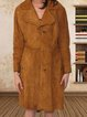 Retro casual mid-length suede trench coat for 90s women