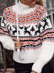 Christmas Snowman Casual Long Sleeve Cotton-Blend Sweater