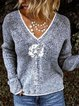 V-Neckline Floral Casual Regular Shift Sweaters