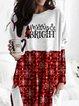 Print Grid Figure Round Neck Long Sleeves Christmas Sweatshirt