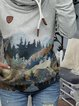 Cowl Neck Casual  Forest Long Sleeves Floral-Print Sweatshirt