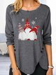 Print Round Neck Long Sleeves Button Up Casual Christmas Blouses