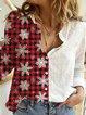 Print Long Sleeves Casual Christmas Shirt Blouses