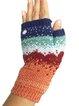 Vintage landscape painting woolen gloves half finger gloves