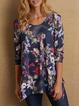 Women's Floral-Print Casual Long Sleeve Shift Shirts