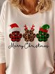 Print Round Neck Long Sleeves Casual Christmas T-shirts