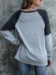 Cotton-Blend Long Sleeve Geometric Sweatshirt