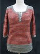 Color-Block Long Sleeve Striped Crew Neck Shirts & Tops
