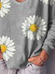 Sunflower Print Floral V-Neck Long Sleeves Casual Blouse